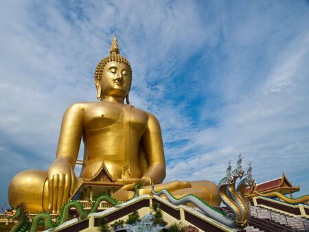 The biggest buddha statue at Wat Muang,Thailand photo
