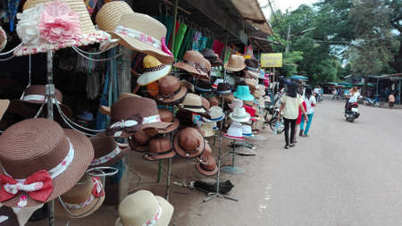 Merry parade of a row hats along the street.