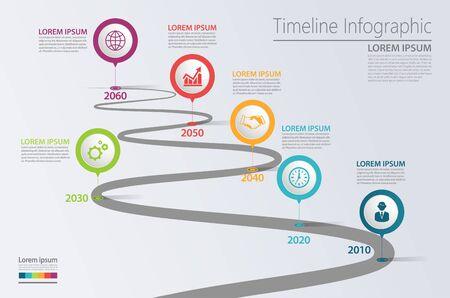 Business road map chronologie infographie icônes conçues pour le modèle de fond abstrait élément jalon diagramme moderne processus technologie marketing numérique présentation des données graphique illustration vectorielle