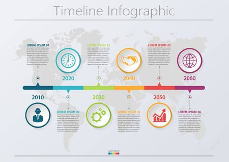 Visualisation des données d'entreprise. icônes d'infographie de la chronologie conçues pour le modèle de fond abstrait élément de jalon diagramme moderne technologie de processus graphique de présentation des données de marketing numérique Vecteurs