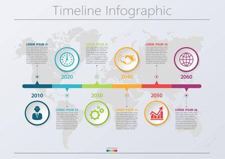 Visualización de datos comerciales. Iconos de infografía de línea de tiempo diseñados para fondo abstracto elemento de hito de plantilla diagrama moderno tecnología de proceso marketing digital gráfico de presentación de datos Vector Ilustración de vector
