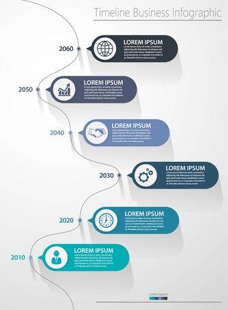 Wizualizacja danych biznesowych. Oś czasu infografika ikony zaprojektowane dla abstrakcyjnego tła szablonu elementu kamienia milowego nowoczesnego diagramu procesu technologii cyfrowego wykresu prezentacji danych marketingowych Wektor