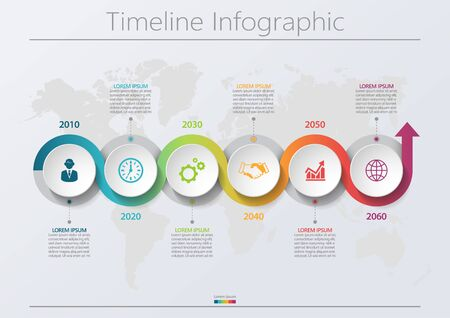 Business data visualization. timeline infographic icons designed for abstract background template milestone element modern diagram process technology digital marketing data presentation chart Vector Ilustración de vector