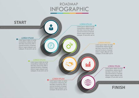 Iconos infográficos de la línea de tiempo de la hoja de ruta de negocios diseñados para el elemento de hito de plantilla de fondo abstracto tecnología de proceso de diagrama moderno gráfico de presentación de datos de marketing digital ilustración vectorial