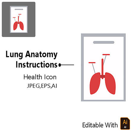 Health Icon - Lung Anatomy Instructions Vector Design Graphic
