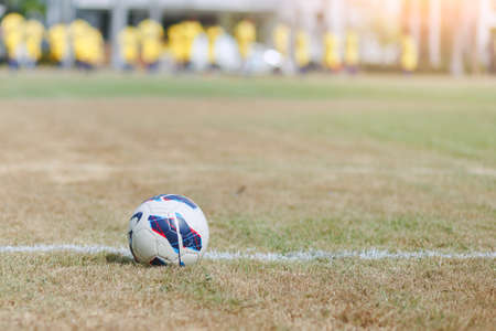 Soccer or Football on field with blurred player