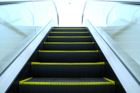 superstore: Look up the escalator from the ground below in superstore Stock Photo