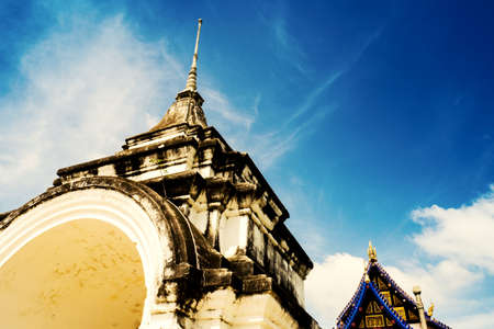 high section: The ancient place in Thailand on a cloudy morning sky Stock Photo