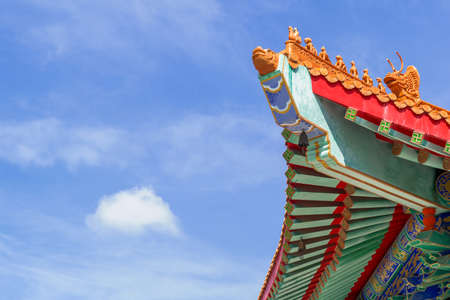 high section: Chinese temple in the morning with cloudy skies in sunhine day
