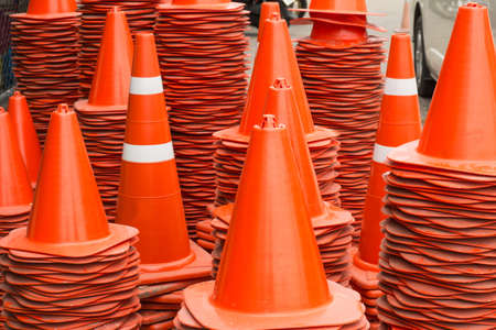 traffic   cones: Orange traffic cones stacked in storage zone