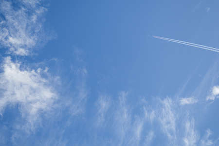 jets: Jets flying in the sky with clouds in the morning sun shine Stock Photo