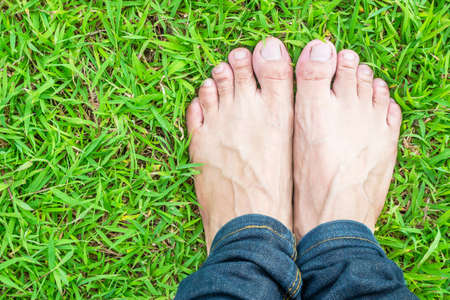 foot wear: Foot wear jeans on the green grass in the sunshine morning Stock Photo