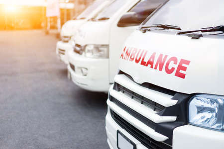 Ambulance parked on the road together to provide assistance to patients.