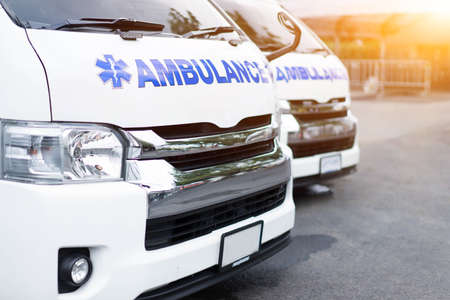 New Ambulance car parked together to provide assistance to patients.