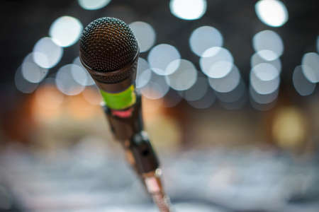 Microphone in concert on the grand stage in the shopping center.