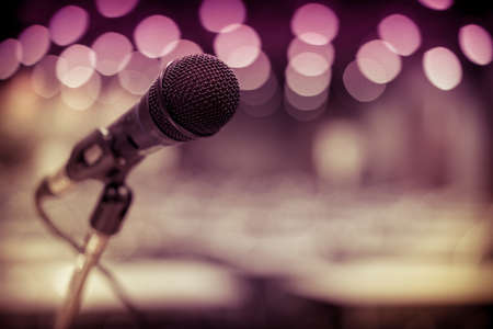 Microphone in concert on the grand stage in the shopping center. Stock Photo - 119420902
