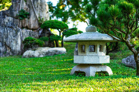 Chinese garden in the morning fresh from the sun. Stock Photo