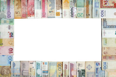 Frame made of vaus banknotes with copy-space in the centre of the image Stock Photo - 9386162