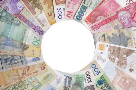 Close-up shot of various banknotes displayed in a circle with copy-space in the middle Stock Photo - 9385681
