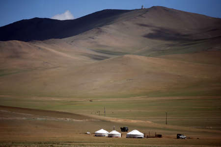 Yurts on a green field in Mongolia