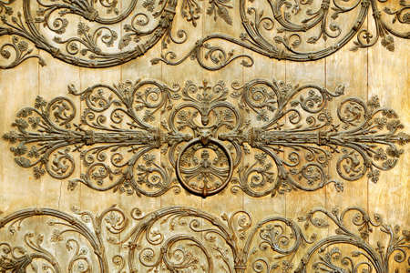 Detail with metal decorations on a wooden door photo