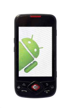 Bucharest, Romania - June 21, 2011: Close-up shot of an Android smartphone with the Android logo displayed on the screen. Android is a software stack for mobile devices that includes an operating system, middle-ware and key applications.  Stock Photo - 9890796