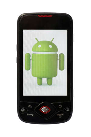 Bucharest, Romania - June 21, 2011: Close-up shot of an Android smartphone with the Android logo displayed on the screen. Android is a software stack for mobile devices that includes an operating system, middle-ware and key applications.  Stock Photo - 9890797