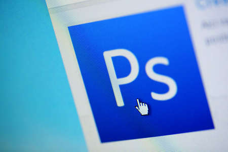 adobe: Bucharest, Romania - March 27, 2011: Close-up monitor shot of the Adobe Photoshop logo.