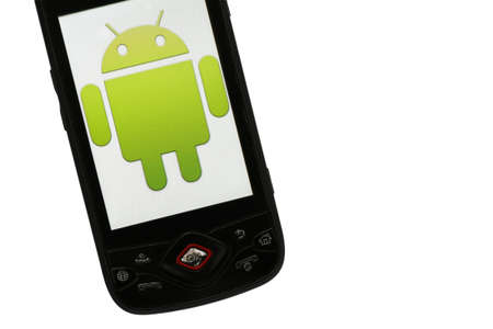 Bucharest, Romania - March 28, 2011: Close-up shot of an Android smartphone with the Android logo displayed on the screen.  Stock Photo - 10005948