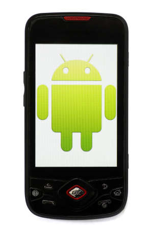 Bucharest, Romania - March 28, 2011: Close-up shot of an Android smartphone with the Android logo displayed on the screen.  Stock Photo - 10005947