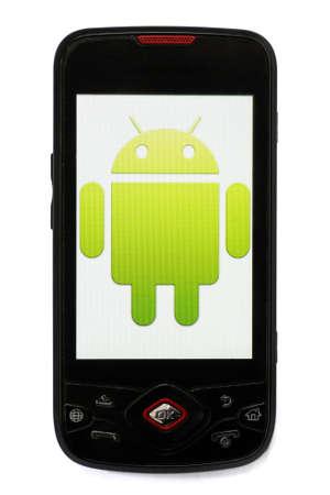 Bucarest, Romania - 28 marzo 2011: Colpo Close-up di uno smartphone Android con il logo di Android visualizzato sullo schermo.