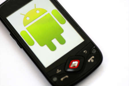 Bucharest, Romania - March 28, 2011: Close-up shot of an Android smartphone with the Android logo displayed on the screen.