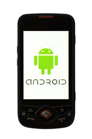 Bucharest, Romania - April 22, 2011: Close-up shot of an Android smartphone with the Android logo displayed on the screen.