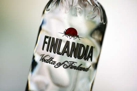 alcohol logo: Bucharest, Romania - July 15, 2011: Close-up shot of a one liter bottle of Finlandia Vodka. Finlandia Vodka is produced at Altia Corporation Editorial
