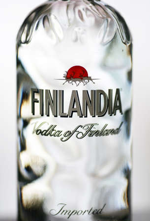 Bucharest, Romania - July 15, 2011: Close-up shot of a one liter bottle of Finlandia Vodka. Finlandia Vodka is produced at Altia Corporation