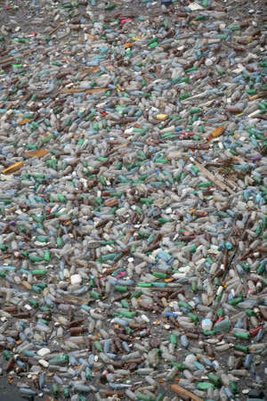 polluted world: Bicaz, Rumania - 15 de julio de 2011: Lotes de botellas de pl�stico flotan en la superficie del lago Bicaz en Rumania.  Editorial