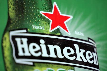 Bucharest, Romania - July 26, 2011: Close-up shot of a Heineken beer ad. Heineken is a Dutch beer which has been brewed by Heineken International since 1873.