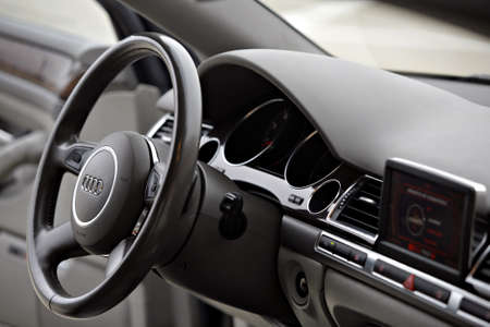 Bucharest, Romania - March 1, 2010: Interior of an Audi A8 car with board and steering wheel.