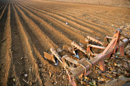 plough machine: Verical color shot of an agricultural field with a plough machine Stock Photo
