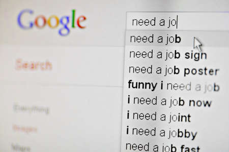 Bucharest, Romania - January 10, 2012. Shot of suggestions made by Google search engine on a need a job search, on a computer monitor.