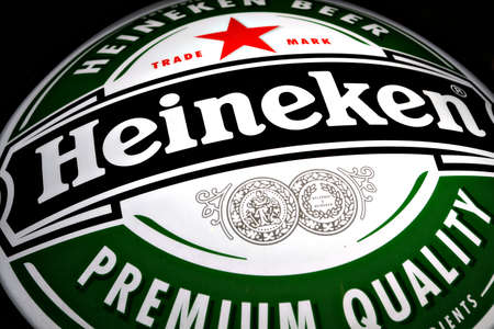 Bucharest, Romania - January 18, 2012: Color shot of a Heineken beer luminous ad. Heineken is a Dutch beer (5% abv pale lager) which has been brewed by Heineken International since 1873. Stock Photo - 12001422