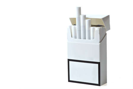 Studio shot of an opened pack of cigarettes photo