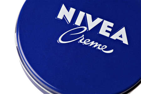 Bucharest, Romania - January 21, 2012: Close up shot of a blue box of Nivea hand cream. Nivea is a skin and body-care brand owned by the Beiersdorf company.
