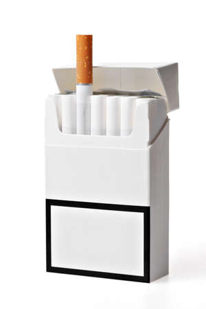 Studio shot of an opened pack of cigarettes, with a different cigarette popping out photo