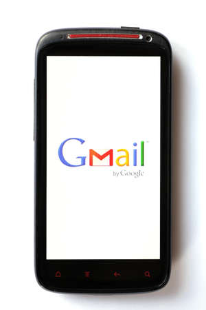 Bucharest, Romania - March 28, 2012: Close-up shot of an Android smartphone with the Gmail logo displayed on the screen. Gmail is a free email service provided by Google. Stock Photo - 13154948