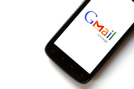 displayed: Bucharest, Romania - March 28, 2012: Close-up shot of an Android smartphone with the Gmail logo displayed on the screen. Gmail is a free email service provided by Google.
