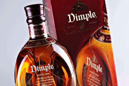 Bucharest, Romania - April 14, 2012: Close-up shot of a bottle of Dimple. Dimple is one of the most popular Blended Deluxe Scotch worldwide. Stock Photo - 13455787