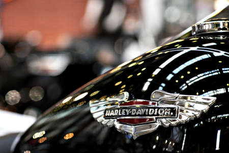 Bucharest, Romania - April 22, 2012: Harley Davidson logo is displayed on a motorcycle tank during an exhibition in Bucharest, Romania.