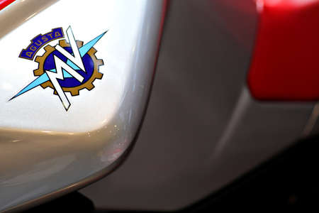 Bucharest, Romania - April 22, 2012: MV Agusta logo is displayed on a motorcycle tank during an exhibition in Bucharest, Romania. MV Agusta is a motorcycle manufacturer from Italy.