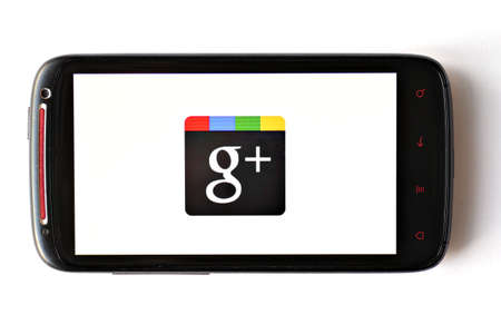 Bucharest, Romania - March 28, 2012: Close-up shot of an Android smartphone with the Google+ logo displayed on the screen. Google+ is a social networking and identity service, operated by Google Inc.